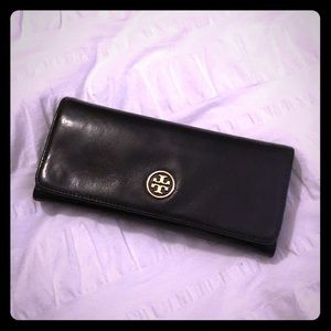 Authentic Tory Burch leather black envelope wallet